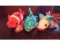 3 TY beanie baby fish
