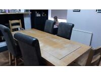 Solid extendable wood table and chairs,shabby chic