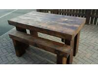 new dinning table hand made with matching benchs