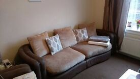 DFS 3-4 Seater + 2 Seater Sofas, used but great condition. Chocolate brown and beige.
