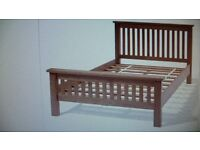 "7 FOOT LONG DOUBLE BED FRAME IN SOLID PINE. (4.6"")"