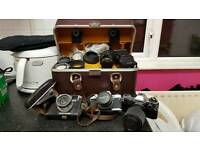 Job lot of old cameras and accessories