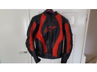 Alpinestars Red leather jacket, barely used, excellent condition with inner warming garment included