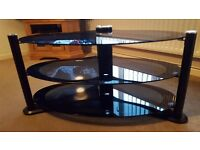 TV stand multimedia unit toughened glass oval shape very good condition up to 55 inch flat screenTV