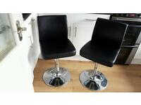 Pair of matching adjustable height bar chairs