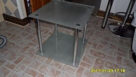 square frosted glass table