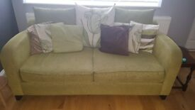 3 seater sofa, arm chair and foot stool. Matching set with cushions included