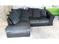 NEW Graded Grey Chenille Fabric Corner Sofa Suite Free Local Delivery