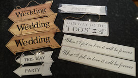 Assorted wedding/party signs