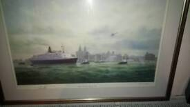 Qe2 print signed by artist & ship Captain.