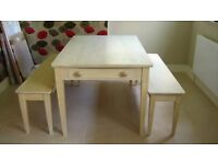 Matching oak dining table, two benches & coffee table in white wash oak