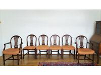 *** Set of 6 Beautiful Antiques Upholstered Mahogany Edwardian Chairs ***
