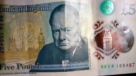 AK14 New £5 Note