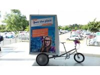 AD Board Tricycle advertising available from £100 per day GLASGOW City Centre Scotland signage signs