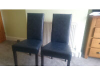 2 x Leather dining chairs, condition NEW