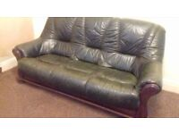 green leather and oak 3 seater sofa and chair