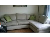 Next Large Corner Sofa Suite - Neutral Oatmeal Colour in Good Condition
