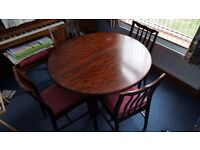 STAG MINSTREL Mahogany Circular Table with integrated extension & 4 matching Stag Minstrel chairs