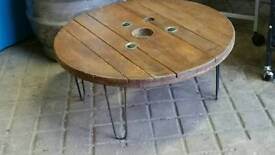Recycled coffee table with hair pin legs