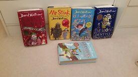 5 David Walliams book , £5,Billionaire Boy,Mr stink,awful auntie,demon dentist,Granpa's great escape