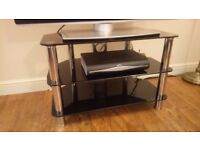 GOOD QUALITY GLASS GLASS & CHROME TV STAND - EXCELLENT CONDITION