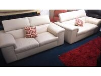 REIDS*Quality Real Leather*large 2 x 2 seater sofas with adjustable headrests*White/Cream*185 x100cm