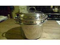 Stainless steel pasta / vegtable steamer pan