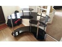 Black Glass and Chrome Curved Computer Table Desk