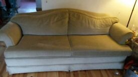 Large 3 seater sofa, beige, good condition