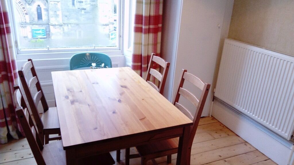 Dining Table and 4 Chairsin Edinburgh City Centre, EdinburghGumtree - Dining table and 4 chairs. There are some scratches on both table and chairs (shown in photos). Selling as upgrading to a larger, extendable table. Dimensions length x breadth x height 47 x 29.5 x 29 (inches) 119 x 75 x 74 (cm) Chair height 35.5...