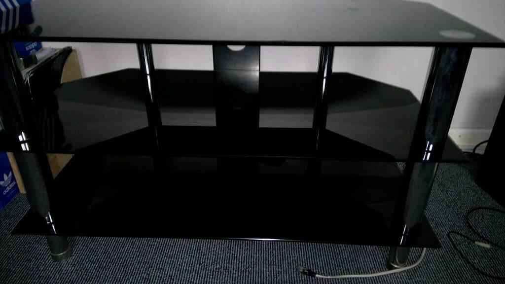 Tempered black glass TV/display unit