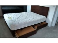 KINGSIZE 5FT BED AND BASE WITH HEADBOARD AND 4 STORAGE DRAWERS