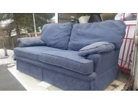 Dark blue 2 seater sofa bed very strong metal frame