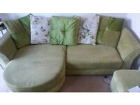 DFS Lime green corner sofa with matching footstool/storage box.