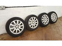 Jaguar X Type Alloy Wheels 10 Spoke With Tyres 205/55R16 205 55 R16 16 JAG X-TYPE Alloys