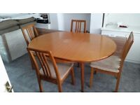 G-plan Extendable Table + 4 Wooden Chairs with padded seat