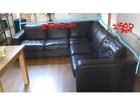 6 seater Brown corner leather sofa - very big - quick sale needed - perfect for first home