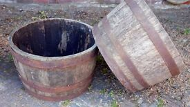 Oak cask planters - old and weathered, rustic look