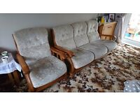 Three piece sofa and two chairs