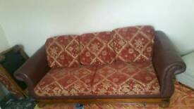 3 seater bed sofa with footstool in good condition