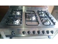 FREE - Italian Range Cooker - 90cm Stainless Steel Dual Fuel (Gas Hob and large electric oven)
