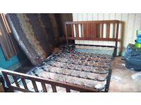 Vono 1930's Vintage wooden double bed with folding metal frame