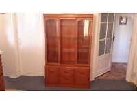 Wall Unit teak style with 2 glass display doors