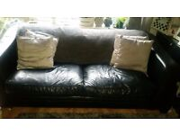 Real black leather 4 seater sofa