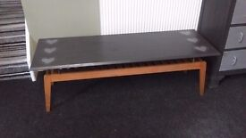 Long coffee table in grey with shabby chic heart detail