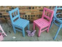 Two painted little chairs