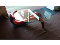 THE DOLPHIN ITALIAN STYLE GLASS COFEE TABLE BRAND NEW BOXED RRP £249 MY PRICE £110 2 COLOURS