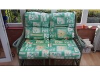 2 Seater Green Cane Sofa (conservatory furniture)