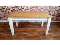 Farmhouse Pine Dining / Extending Table - in Huge Range of Sizes - Tapered Legs