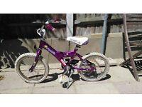 Giant Girls Bike 16 inch wheels has footbrake and stand